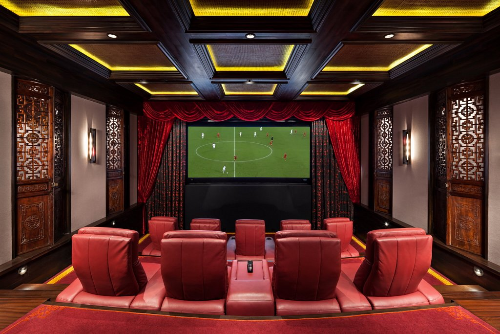Contemporary Estate - home movie theater